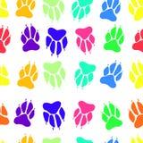 Φωτεινό πολύχρωμο άνευ ραφής σχέδιο σφραγίδων σκυλιών τυπωμένων υλών ποδιών, vect Στοκ Εικόνα