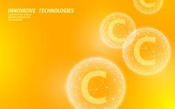 Φωτεινό πορτοκαλί χρώμα σφαιρών βιταμίνης C χαμηλό πολυ Σύνθετη θεραπεία γρίπης αγγελιών καλλυντικών αντι-γήρανσης φροντίδας δέρμ διανυσματική απεικόνιση