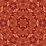 Φωτεινό πορτοκαλί mandala, κόκκινο και πορτοκαλί μετάξι επίδρασης καλειδοσκόπιων Στοκ Φωτογραφία
