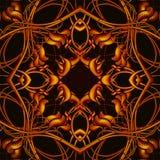 Φωτεινό πορτοκαλί φανταστικό άνευ ραφής σχέδιο με τα φανταστικά φύλλα ι Στοκ φωτογραφία με δικαίωμα ελεύθερης χρήσης