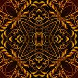 Φωτεινό πορτοκαλί φανταστικό άνευ ραφής σχέδιο με τα φανταστικά φύλλα ι Στοκ Εικόνες