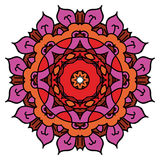 Φωτεινό πορφυρό διανυσματικό mandala, στρογγυλό στοιχείο Στοκ Εικόνες