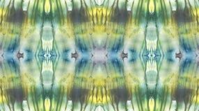 Φωτεινό συμμετρικό κάθετο υπόβαθρο Μπλε, γκρίζες, πράσινες, άσπρες και κίτρινες χρωστικές ουσίες αφηρημένο watercolor ζωγραφικής  Στοκ Εικόνες