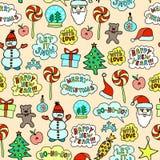 Φωτεινό σχέδιο Χριστουγέννων κινούμενων σχεδίων - άνευ ραφής σύσταση στο ρόδινο υπόβαθρο Απεικόνιση αποθεμάτων