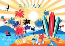 Φωτεινό τοπίο θερινού χρώματος με τους φοίνικες και την παραλία απεικόνιση αποθεμάτων
