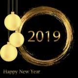 φωτεινό υπόβαθρο ευχετήριων καρτών καλής χρονιάς του 2019 Ευχετήρια κάρτα καλής χρονιάς όμορφες διακοπές ανασκόπ& ελεύθερη απεικόνιση δικαιώματος
