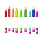 Φωτεινό υπόβαθρο με τα μολύβια χρώματος απεικόνιση αποθεμάτων