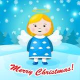 Φωτεινό υπόβαθρο Χριστουγέννων με το μικρό αστείο άγγελο Στοκ Εικόνες