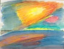 Φωτεινό χρωματισμένο σκίτσο ενός ηλιοβασιλέματος πέρα από τη θάλασσα Στοκ φωτογραφία με δικαίωμα ελεύθερης χρήσης