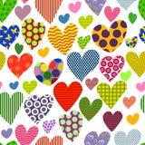 Φωτεινό χρωματισμένο υπόβαθρο καρδιών πρότυπο άνευ ραφής Στοκ Εικόνες