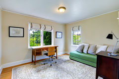 Φωτεινό δωμάτιο γραφείων με τον πράσινο καναπέ Στοκ Εικόνα