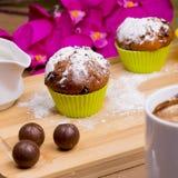 Φωτεινό Cupcake με τη ζάχαρη και τη σοκολάτα τήξης Στοκ φωτογραφίες με δικαίωμα ελεύθερης χρήσης