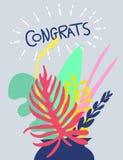 Φωτεινό floral σχέδιο καρτών Διανυσματική απεικόνιση