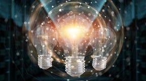 Φωτεινό lightbulb που φωτίζει άλλη τρισδιάστατη απόδοση βολβών απεικόνιση αποθεμάτων