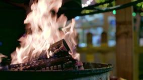 Φωτιά υπαίθρια σε σε αργή κίνηση απόθεμα βίντεο