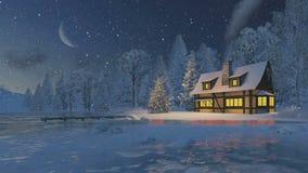 Φωτισμένα αγροτικά σπίτι και χριστουγεννιάτικο δέντρο απεικόνιση αποθεμάτων