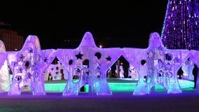 Φωτισμένα αστέρια στην πόλη πάγου τη νύχτα φιλμ μικρού μήκους