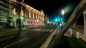 Φωτισμένη νύχτα άποψη 4k timelapse Γαλλία οδικών οδών κυκλοφορίας πόλεων της Νίκαιας οδών απόθεμα βίντεο