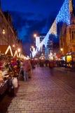 Φωτισμένη οδός σε Wroclaw Στοκ Φωτογραφία