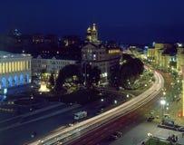 Φωτισμένη οδός Khreshchatyk Στοκ Φωτογραφία