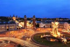 Φωτισμένη πλατεία Espana, Βαρκελώνη Στοκ εικόνες με δικαίωμα ελεύθερης χρήσης