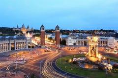 Φωτισμένη πλατεία Espana, Βαρκελώνη Στοκ φωτογραφίες με δικαίωμα ελεύθερης χρήσης