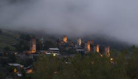 Φωτισμένοι πύργοι Svaneti Στοκ Φωτογραφία