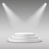 Φωτισμένος γύρω από την άσπρη σκηνική εξέδρα ελεύθερη απεικόνιση δικαιώματος