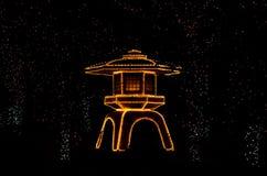 Φωτισμένος ιαπωνικός κήπος, Κιότο Ιαπωνία Στοκ Φωτογραφία
