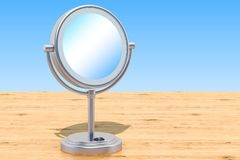 Φωτισμένος makeup καθρέφτης επιτραπέζιων κορυφών οδηγήσεων με την ενίσχυση στο W απεικόνιση αποθεμάτων