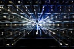 Φωτισμένο πληκτρολόγιο με τα ελαφριά ίχνη Στοκ Φωτογραφίες