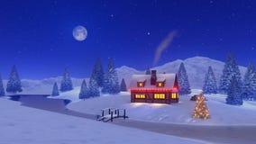 Φωτισμένο σπίτι στη νύχτα Χριστουγέννων χιονοπτώσεων 4K διανυσματική απεικόνιση