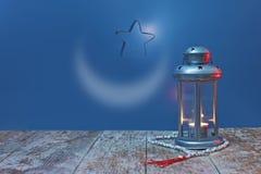 Φωτισμένο φανάρι με το αστέρι και Rosary Στοκ Φωτογραφίες