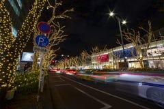 Φωτισμένο φως στην οδό σε Omotesando Τόκιο στοκ φωτογραφία