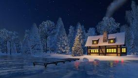 Φωτισμένο χριστουγεννιάτικο δέντρο και αγροτικό σπίτι τη νύχτα ελεύθερη απεικόνιση δικαιώματος