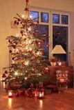 Φωτισμένο χριστουγεννιάτικο δέντρο Στοκ Εικόνα