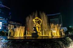 Φωτισμένο Hangzhou τετράγωνο οικοδόμησης Wishan Στοκ φωτογραφία με δικαίωμα ελεύθερης χρήσης