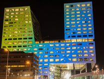 Φωτισμένο Stadskantoor Ουτρέχτη Στοκ Εικόνα
