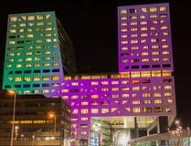 Φωτισμένο Stadskantoor Ουτρέχτη Στοκ εικόνες με δικαίωμα ελεύθερης χρήσης