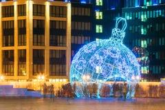 Φωτισμοί και διακοσμήσεις Χριστουγέννων πόλεων στη πλατεία της πόλης στο Μ στοκ εικόνες με δικαίωμα ελεύθερης χρήσης