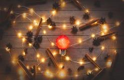 Φωτισμοί και κανέλα διακοπών με το γλυκάνισο αστεριών στοκ εικόνες με δικαίωμα ελεύθερης χρήσης