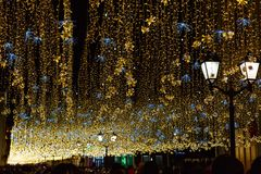 Φωτισμοί και φωτεινοί σηματοδότες τη νύχτα στοκ φωτογραφία