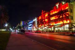 Φωτισμοί στην περιοχή του Art Deco, Μαϊάμι Μπιτς στοκ φωτογραφία