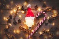 Φωτισμοί Χριστουγέννων και lollinpop στοκ εικόνες