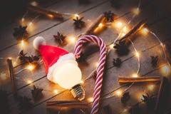 Φωτισμοί Χριστουγέννων και lollinpop στοκ φωτογραφίες