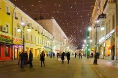 Φωτισμοί Χριστουγέννων στις 25 Νοεμβρίου 2016 στη Μόσχα στοκ φωτογραφία