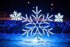 Φωτισμοί Χριστουγέννων υπό μορφή snowflakes στο πάρκο νύχτας στοκ εικόνα