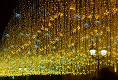 Φωτισμός νύχτας Χριστουγέννων στη Μόσχα στοκ εικόνα με δικαίωμα ελεύθερης χρήσης