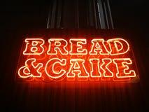 Φωτισμός σημαδιών ψωμιού & κέικ νέου Στοκ Φωτογραφίες