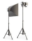 Φωτισμός στούντιο που απομονώνεται στην άσπρη ανασκόπηση τρισδιάστατος Στοκ Εικόνα